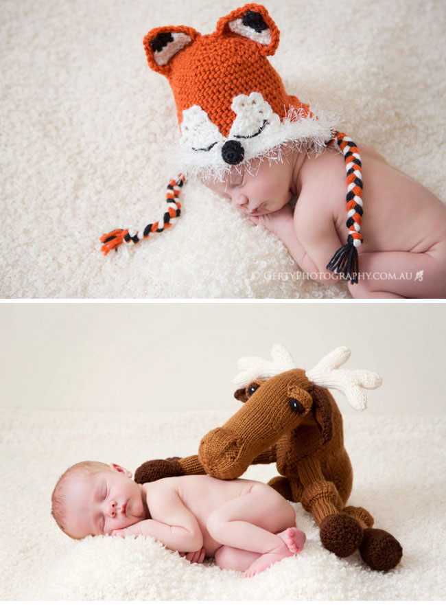 Newborn baby fox hat and moose props
