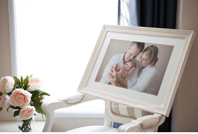 Framed newborn portrait