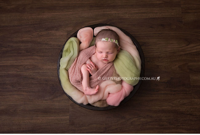 pink and green newborn photography
