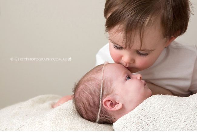 siblings - brother and sister newborn photo