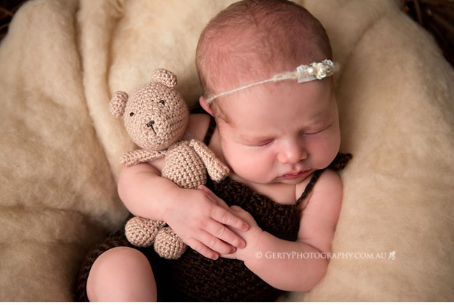 newborn photography with amigurumi teddy bear