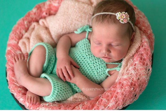 coral and mint newborn photos