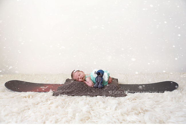 snowboard baby newborn photo