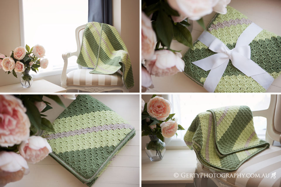 c2c crocheted blanket greens and neutrals gift