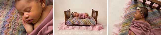 beautiful newborn photography timber bed pink
