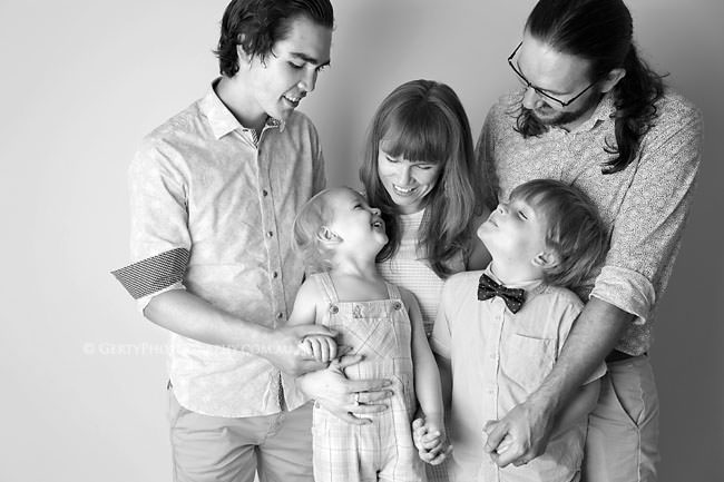 black & white studio family photos