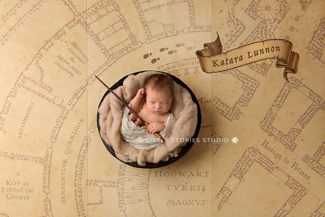 Harry Potter Newborn Photos marauders map mischief managed wand footsteps