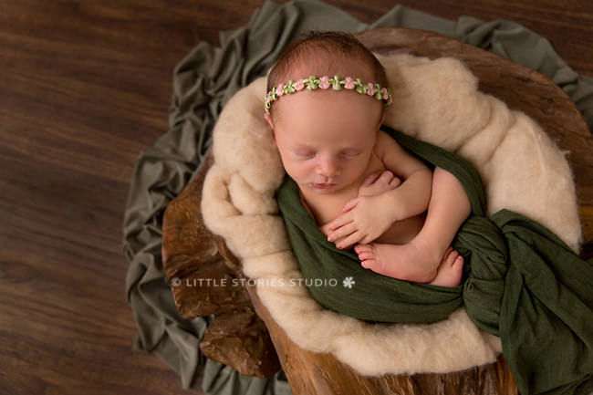 green and neutrals baby girl newborn photo