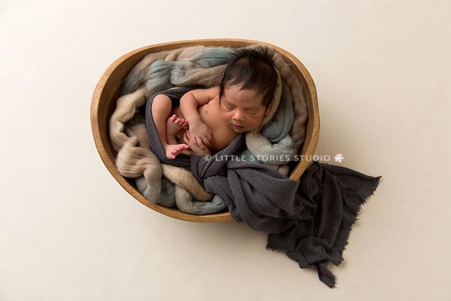 blue and cream newborn photography setup brisbane