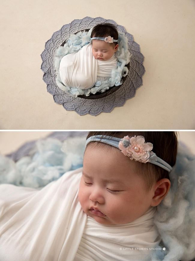 baby girl in blue newborn photo brisbane