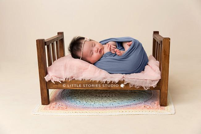 mini prop bed newborn studio photo