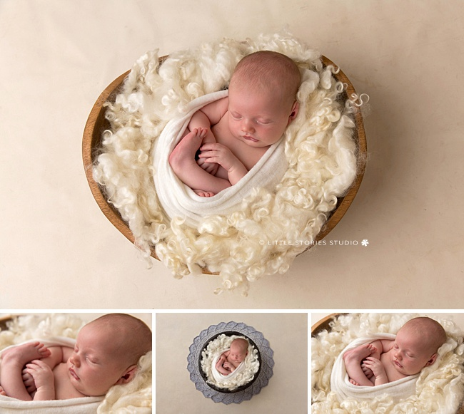 simple cream white timber newborn prop setup